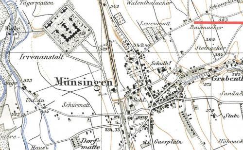 Alte Karte von Münsingen